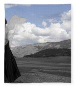 Flirty Fairy Black And White Fleece Blanket