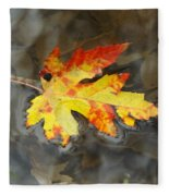 Floating Autumn Leaf Fleece Blanket