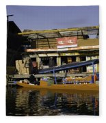 Floating Shop Along With Another Shop On Floats In The Dal Lake Fleece Blanket