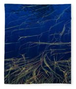 Floating Weeds In Picture Lake Fleece Blanket