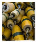 Floats Used In Crab Fishing Fleece Blanket