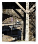 Flood Height Sign At Ellicott City Maryland Fleece Blanket