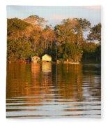 Flooded Amazon With Houses Fleece Blanket