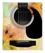 Floral Abstract Guitar 14 Fleece Blanket