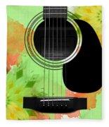 Floral Abstract Guitar 15 Fleece Blanket