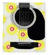 Floral Abstract Guitar 22 Fleece Blanket