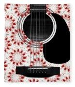 Floral Abstract Guitar 24 Fleece Blanket
