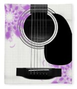 Floral Abstract Guitar 26 Fleece Blanket