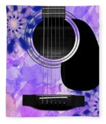 Floral Abstract Guitar 27 Fleece Blanket