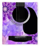 Floral Abstract Guitar 29 Fleece Blanket