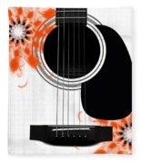Floral Abstract Guitar 32 Fleece Blanket