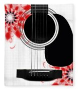 Floral Abstract Guitar 33 Fleece Blanket