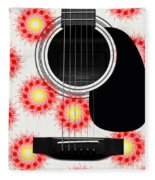 Floral Abstract Guitar 8 Fleece Blanket