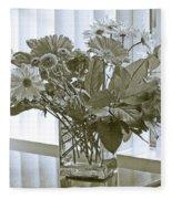 Floral Arrangement With Blinds Reflection Fleece Blanket