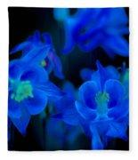 Floral Blue Orchid On Black Fleece Blanket