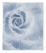 Floral Impression Cyanotype Fleece Blanket