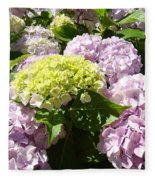 Floral Pink Lavender Hydrangea Garden Art Prints Fleece Blanket