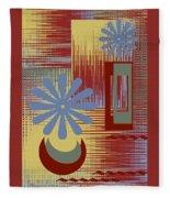 Floral Still Life In Red Fleece Blanket