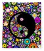 Floral Yin Yang Fleece Blanket