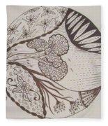 Floral Zen Tangle  Fleece Blanket