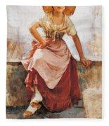 Florentine Flower Girl Fleece Blanket