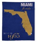 Florida International University Panthers Miami College Town State Map Poster Series No 038 Fleece Blanket