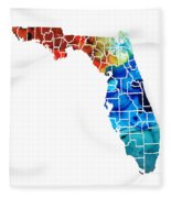 Florida - Map By Counties Sharon Cummings Art Fleece Blanket