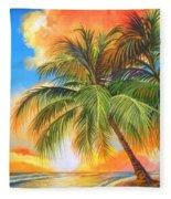 Florida Palm Sunset Fleece Blanket
