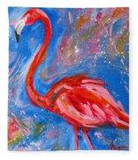 Florida Pink Flamingo - Modern Impressionist Art Fleece Blanket