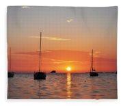 Florida Sailboat Sunset Fleece Blanket