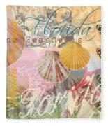 Florida Seashells Collage Fleece Blanket