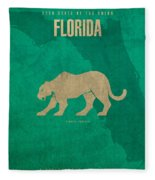 Florida State Facts Minimalist Movie Poster Art  Fleece Blanket