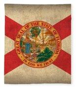 Florida State Flag Art On Worn Canvas Fleece Blanket by Design Turnpike