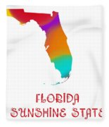 Florida State Map Collection 2 Fleece Blanket