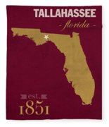 Florida State University Seminoles Tallahassee Florida Town State Map Poster Series No 039 Fleece Blanket