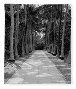 Florida Walkway Black And White Fleece Blanket