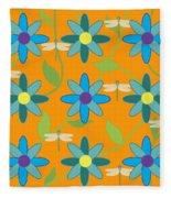 Flower And Dragonfly Design With Orange Background Fleece Blanket