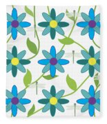 Flower And Dragonfly Design With White Background Fleece Blanket