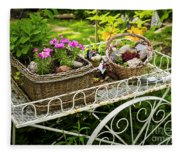 Flower Cart In Garden Fleece Blanket