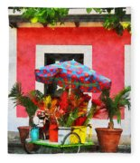 Flower Cart San Juan Puerto Rico Fleece Blanket