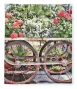 Flower Cart Fleece Blanket