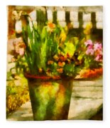 Flower - Daffodil - A Pot Of Daffodil's Fleece Blanket