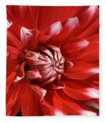 Flower- Dahlia-red-white Fleece Blanket