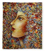 Flower Goddess. Fleece Blanket