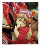 Flower Hmong Baby 01 Fleece Blanket