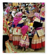 Flower Hmong Girl 01 Fleece Blanket