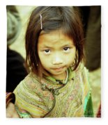 Flower Hmong Girl 02 Fleece Blanket