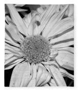 Flower In Black And White Fleece Blanket