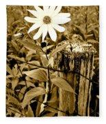 Flower In Sepia Fleece Blanket