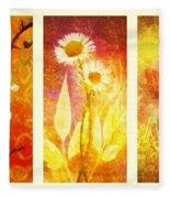 Flower Love Triptic Fleece Blanket